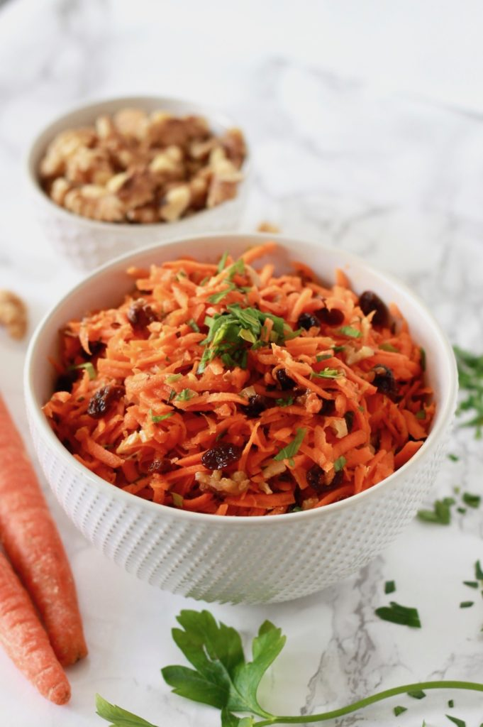 Shredded Carrot Salad with Raisins and Walnuts | www.littlechefbigappetite.com 2