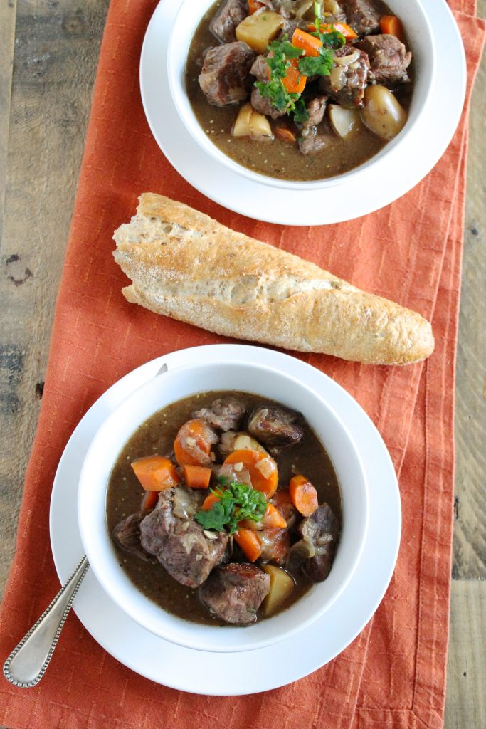 Healthy Slow Cooker Beef Stew in White Bowl with Baguette | www.littlechefbigappetite.com 3