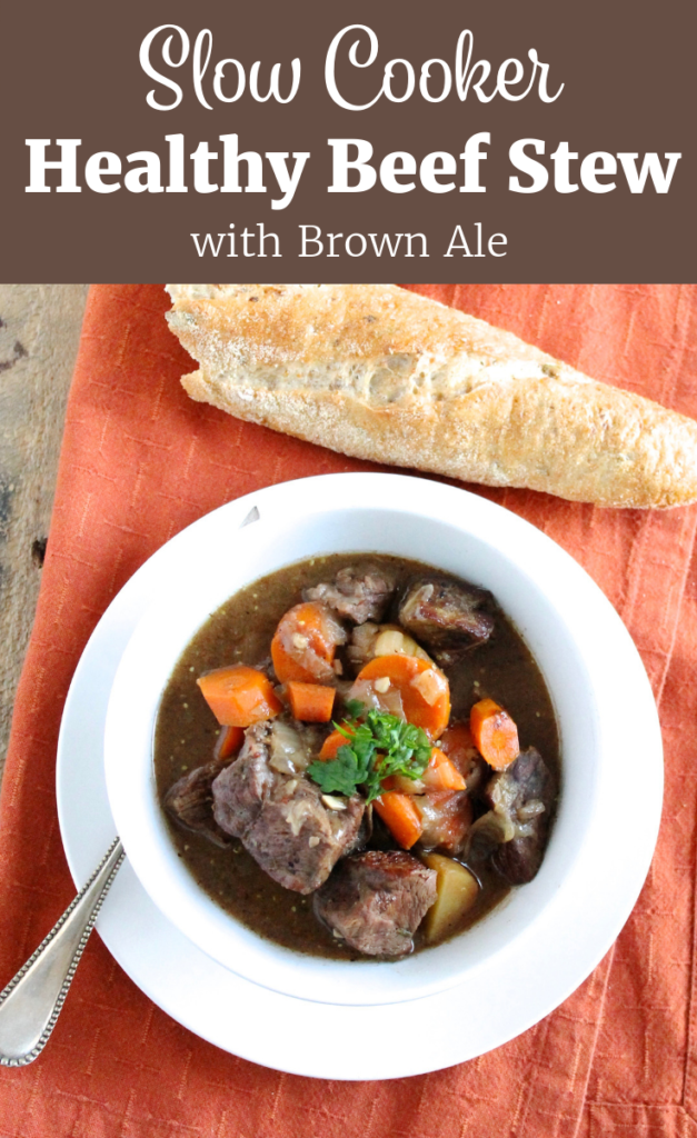 Healthy Slow Cooker Beef Stew in White Bowl with Baguette | www.littlechefbigappetite.com Pinterest