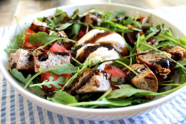 Heirloom Tomato and Burrata Panzanella Salad