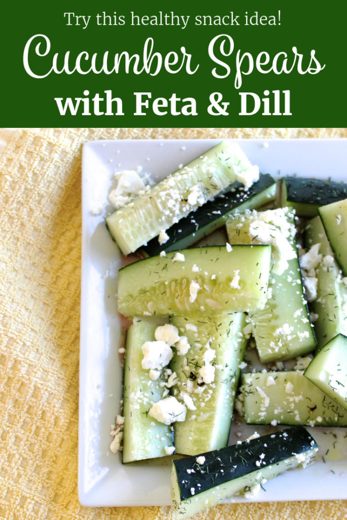 Cucumber Spears with Feta and Dill Pinterest | www.littlechefbigappetite.com