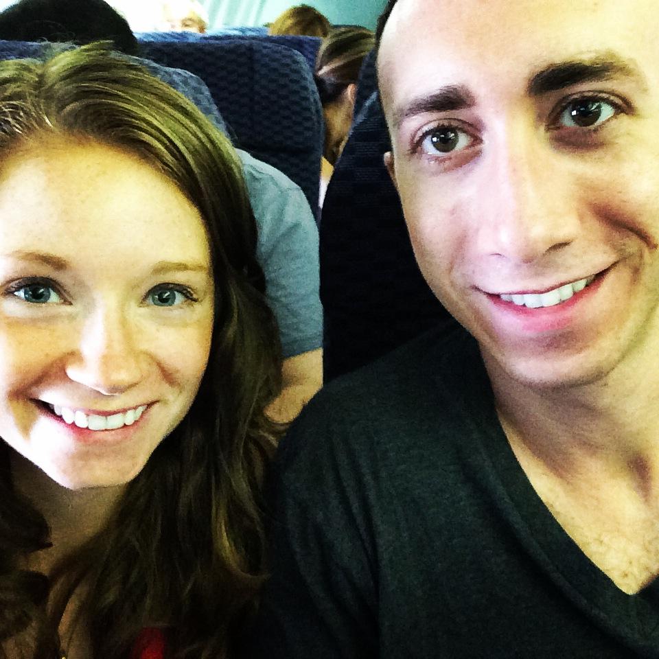 Rachel and Travis on the Plane   www.littlechefbigappetite.com