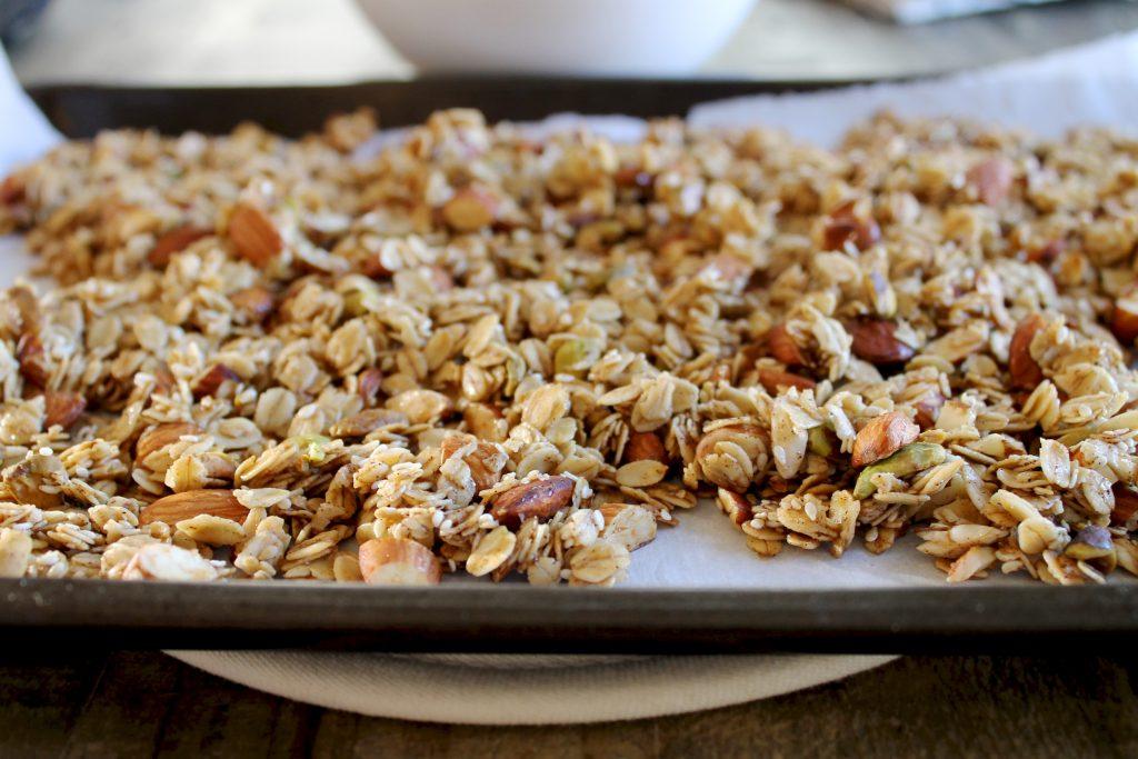 Cardamom Granola on Baking Sheet | www.LittleChefBigAppetite.com