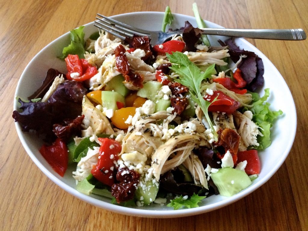 Salad with Vegetables, Chicken and Feta in a white bowl | www.LittleChefBigAppetite.com