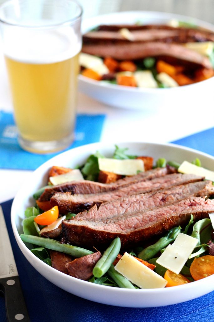 Skirt Steak Salad with Roasted Sweet Potatoes, Tomatoes, Green Beans, and Shaved Parmesan Recipe | www.littlechefbigappetite.com 1
