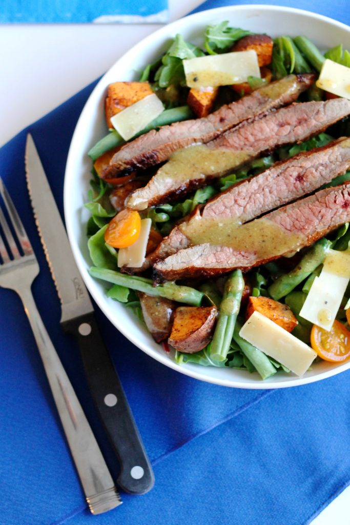 Skirt Steak Salad with Roasted Sweet Potatoes, Tomatoes, Green Beans, and Shaved Parmesan Recipe | www.littlechefbigappetite.com 2