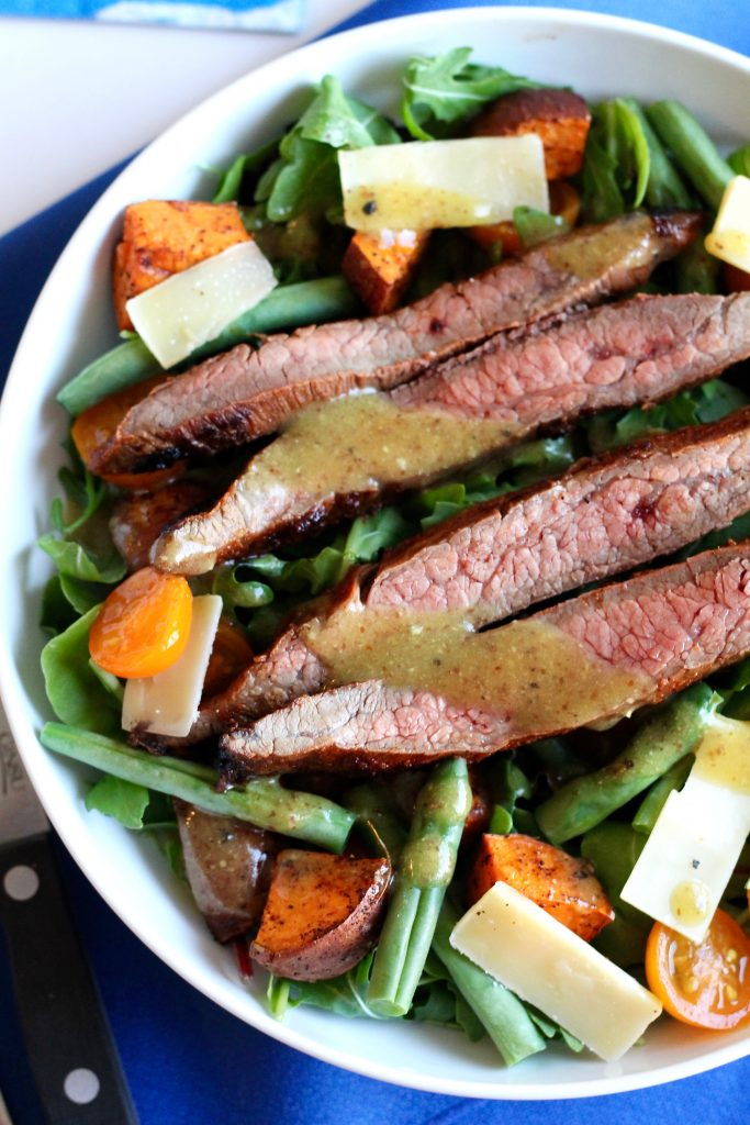 Skirt Steak Salad with Roasted Sweet Potatoes, Tomatoes, Green Beans, and Shaved Parmesan Recipe | www.littlechefbigappetite.com 3