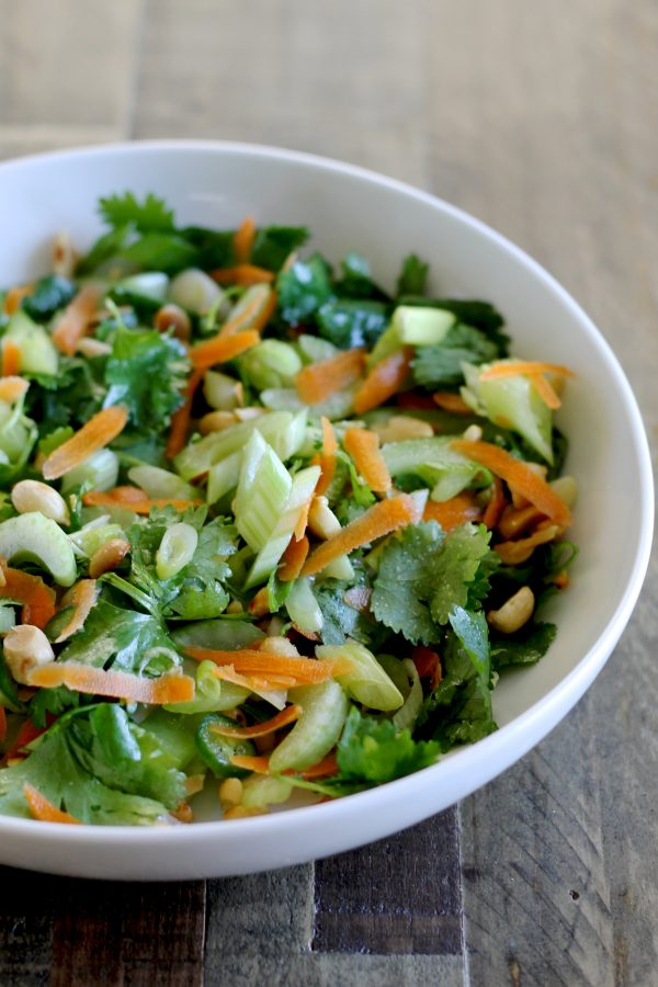 Thai Celery Salad with Cilantro, Carrots, Scallions, and Peanuts -- www.littlechefbigappetite.com