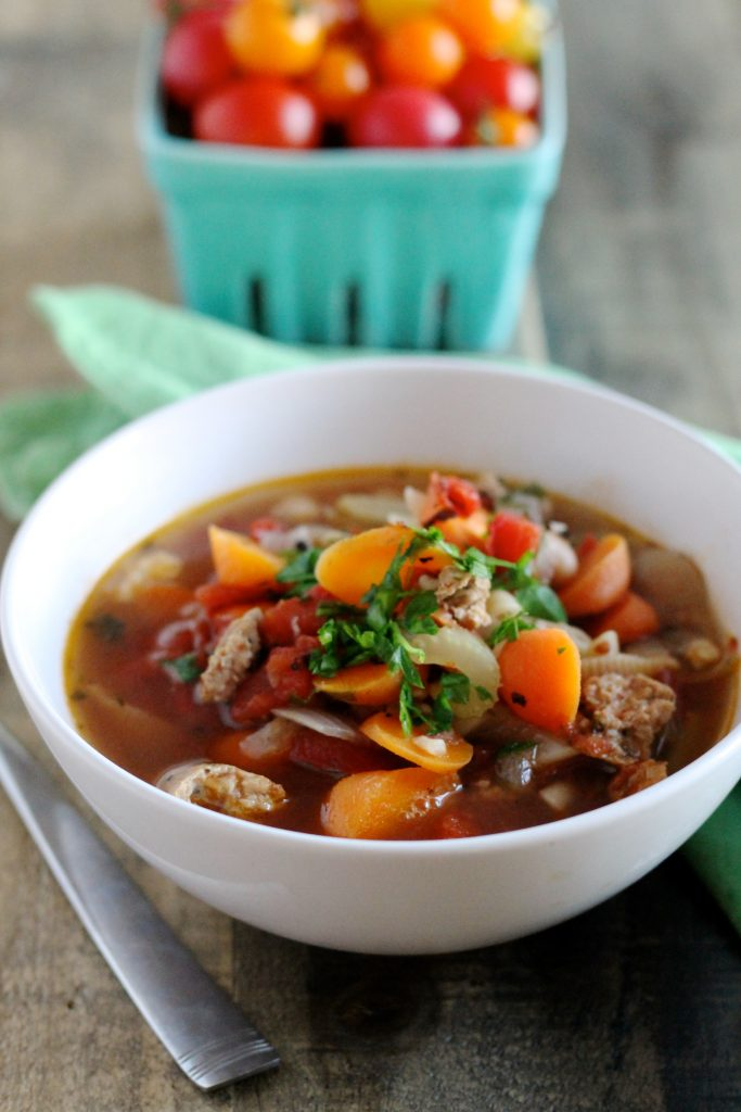 Chicken and Chickpea Sausage Minestrone Soup | www.littlechefbigappetite.com 3