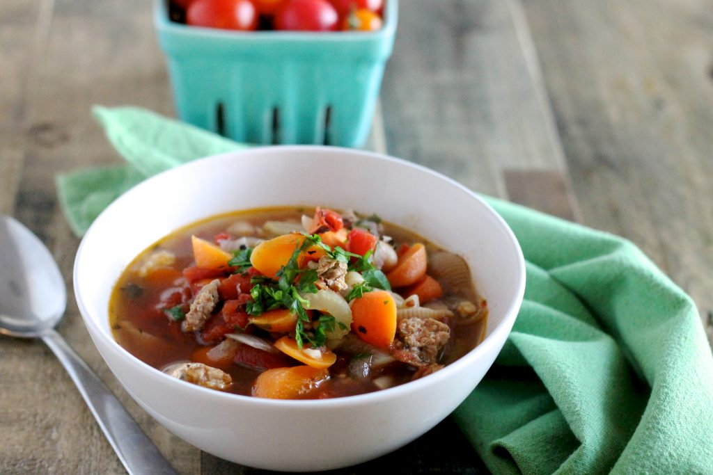 Chicken and Chickpea Sausage Minestrone Soup Recipe | www.littlechefbigappetite.com 2