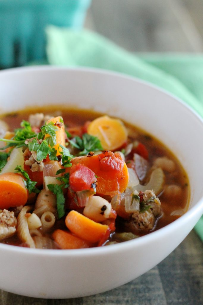 Chicken and Chickpea Sausage Minestrone Soup Recipe   www.littlechefbigappetite.com 3