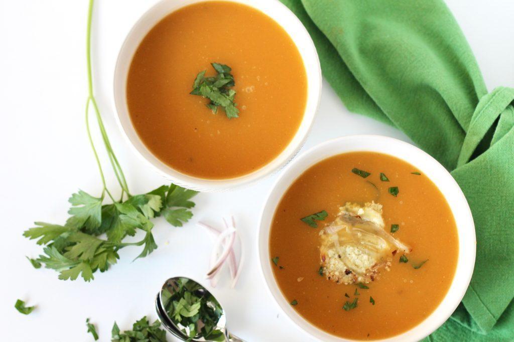 Butternut Squash Soup with Parmesan Shallot Crisps | www.littlechefbigappetite.com