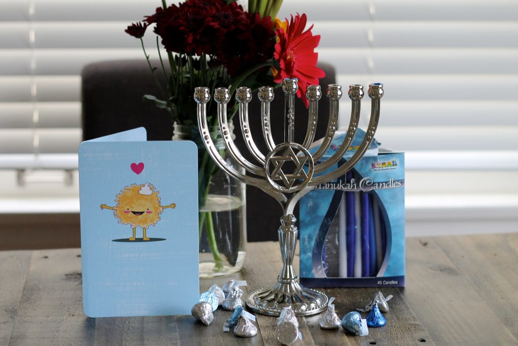 Hanukkah Menorah, Candles, and Card on Table | www.littlechefbigappetite.com