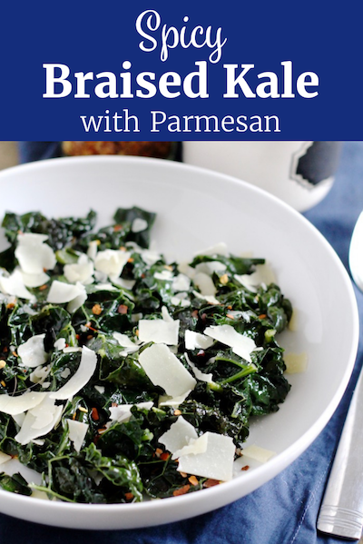 Spicy Braised Kale with Shaved Parmesan   www.littlechefbigappetite.com Pinterest