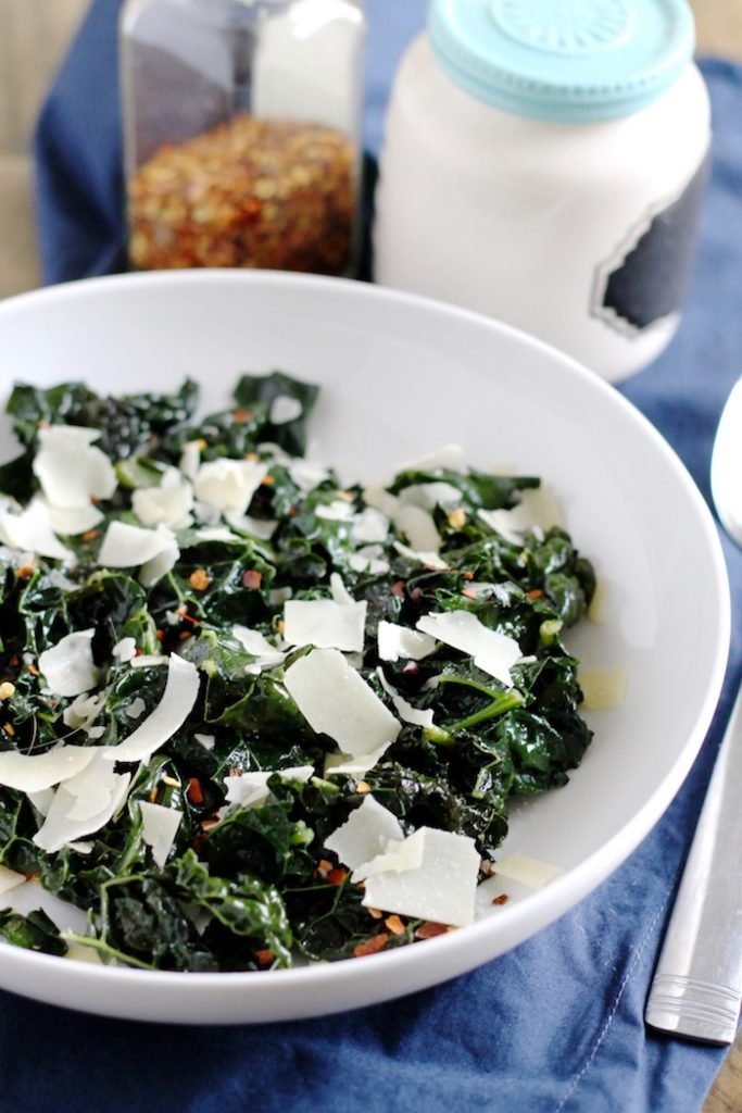 Spicy Braised Kale with Shaved Parmesan   www.littlechefbigappetite.com