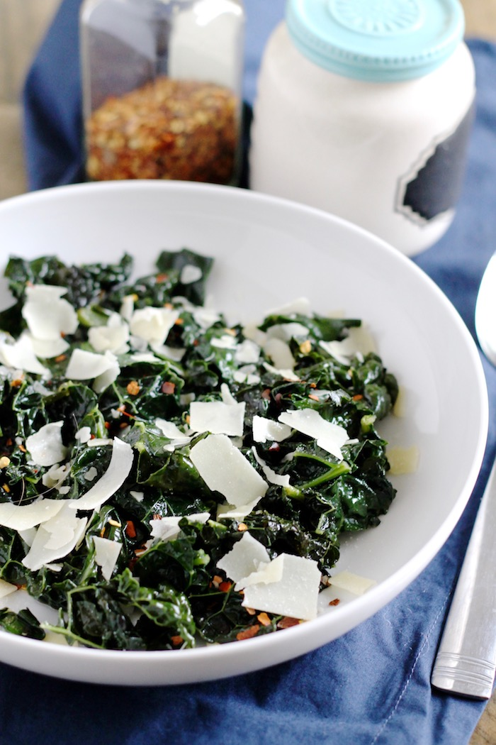 Spicy Braised Kale with Shaved Parmesan | www.littlechefbigappetite.com