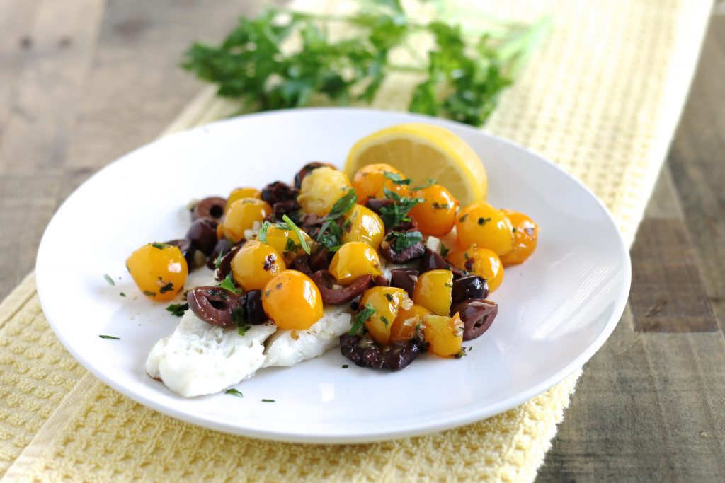Cod with Cherry Tomatoes and Kalamata Olives Recipe | www.littlechefbigappetite.com