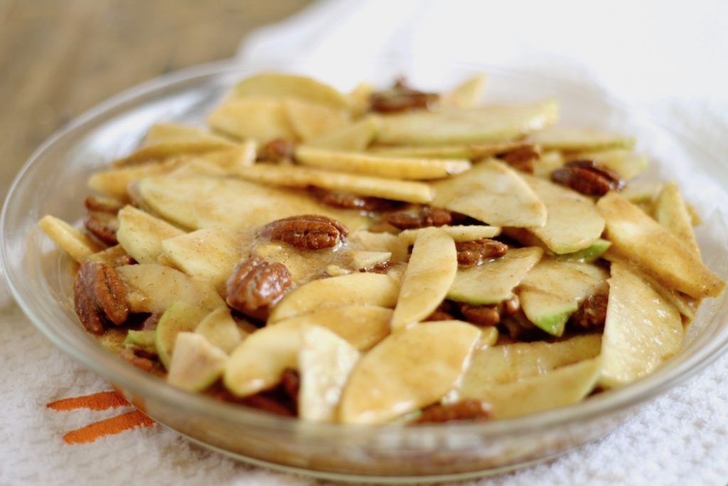 Healthier No Crust Apple Pie Recipe Uncooked in Pan | www.littlechefbigappetite.com 2
