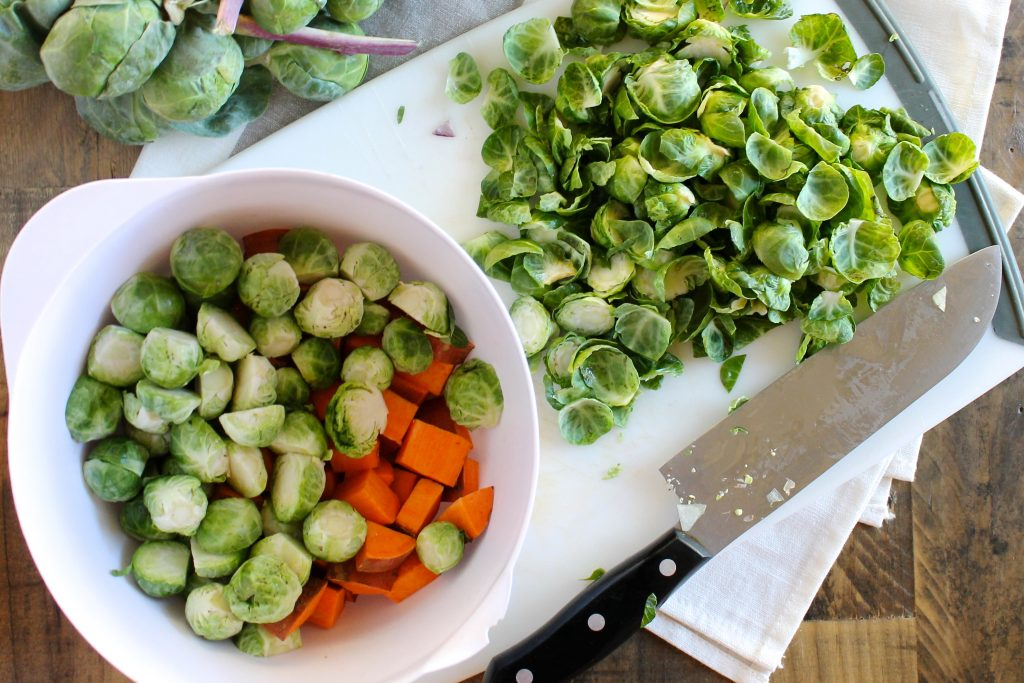 Maple Roasted Brussels Sprouts and Sweet Potatoes Recipe | www.littlechefbigappetite.com 2
