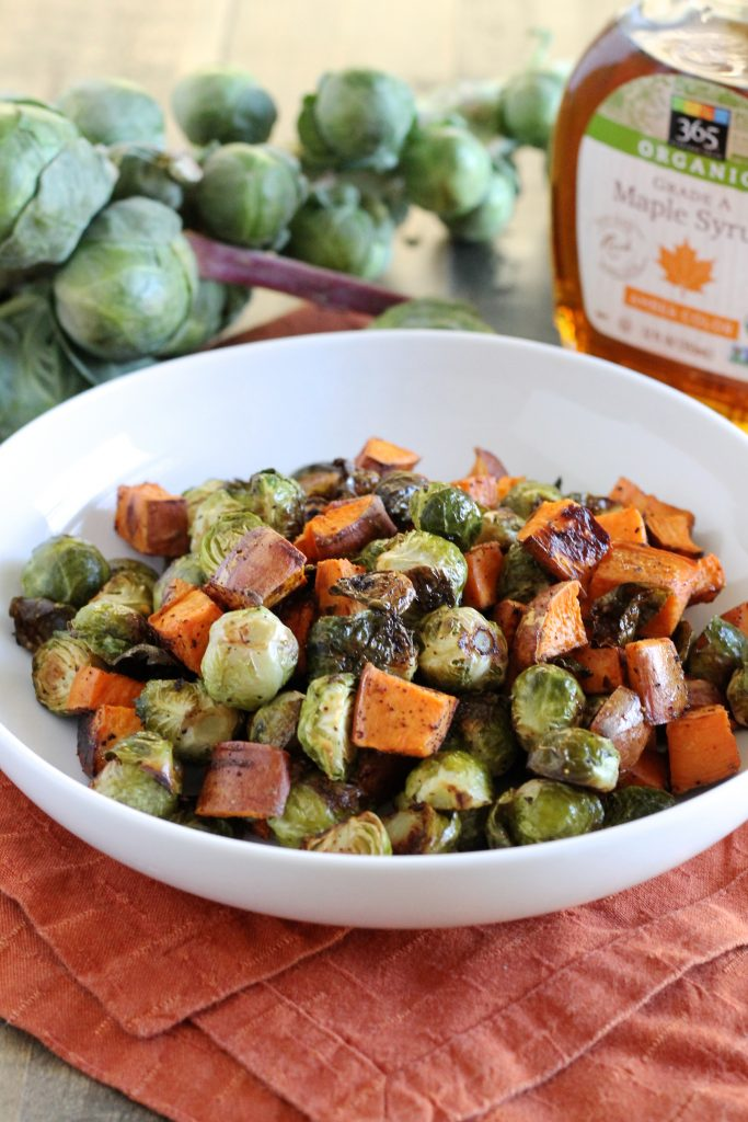 Maple Roasted Brussels Sprouts and Sweet Potatoes Recipe | www.littlechefbigappetite.com 1