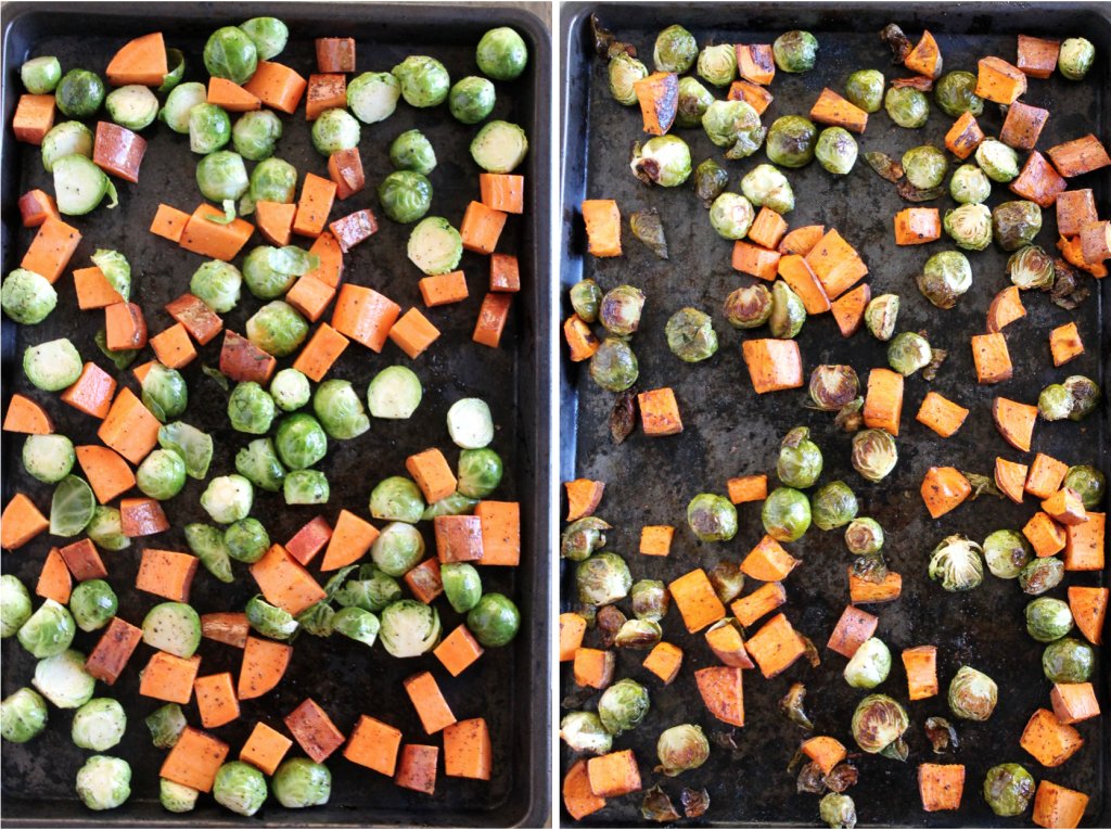 Maple Roasted Brussels Sprouts and Sweet Potatoes Recipe | www.littlechefbigappetite.com 3
