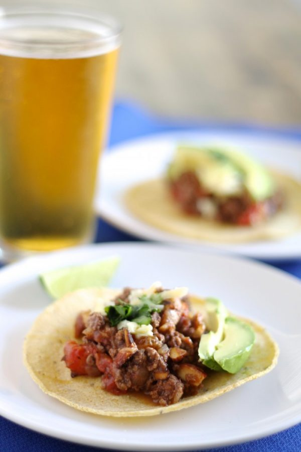 Picadillo Tacos with Ground Beef, Almonds and Raisins | www.littlechefbigappetite.com 1