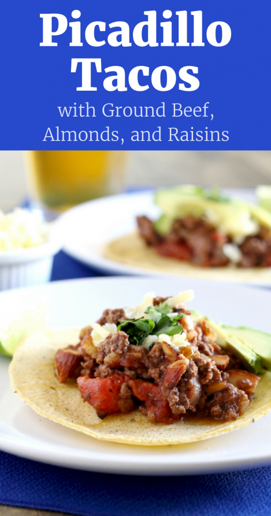 Try these Gluten-Free Picadillo Tacos with Ground Beef, Almonds and Raisins. It's a unique take on the classic ground beef taco. Ready in 45 minutes! ll www.littlechefbigappetite.com