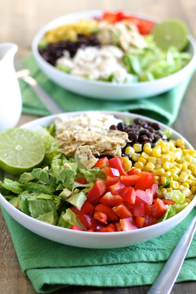 Taco Salad with Shredded Chicken and Lime-Cilantro Dressing | www.littlechefbigappetite.com 1