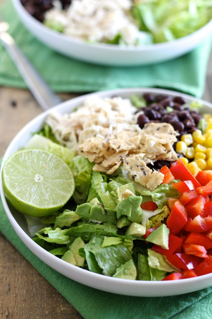 Taco Salad with Shredded Chicken and Lime-Cilantro Dressing | www.littlechefbigappetite.com 2