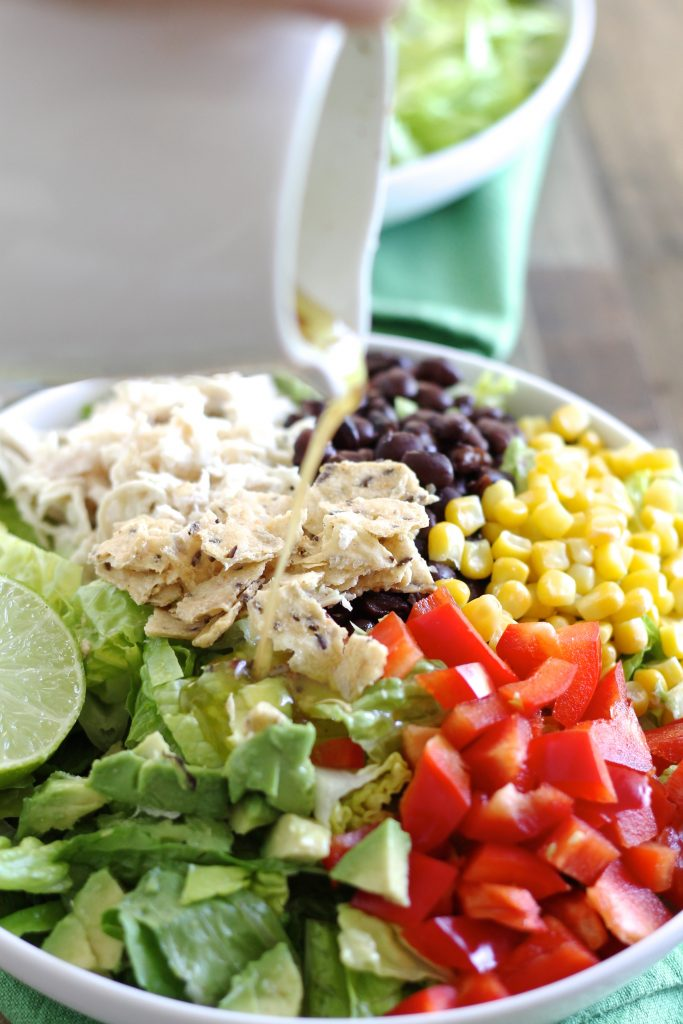Taco Salad with Shredded Chicken and Lime-Cilantro Dressing | www.littlechefbigappetite.com 5
