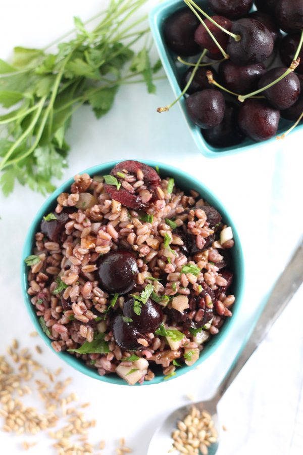 Farro Salad with Cherries and Walnuts…Plus a Complete Labor Day Barbecue Meal!