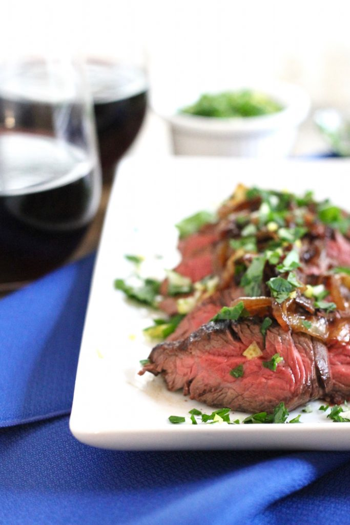 Brown Ale Marinated Hanger Steak with Caramelized Onions Recipe | www.littlechefbigappetite.com 4