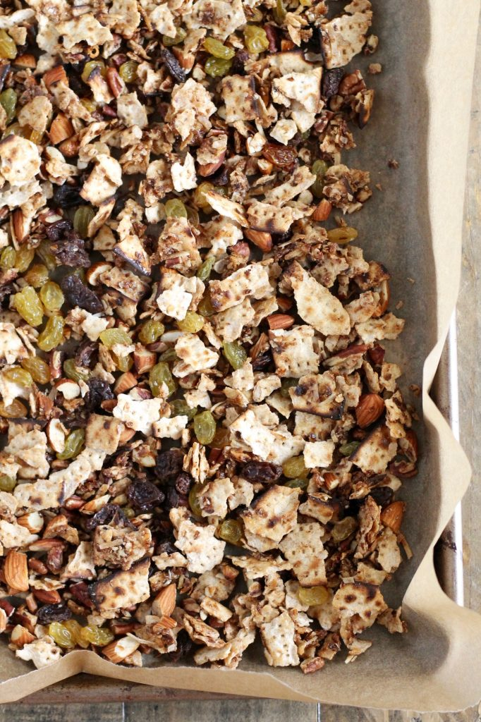 Kosher for Passover Matzoh Granola with Honey and Raisins ll This recipe is healthy, low in sugar, and a great way to use up leftover matzoh from your seders! ll www.littlechefbigappetite.com