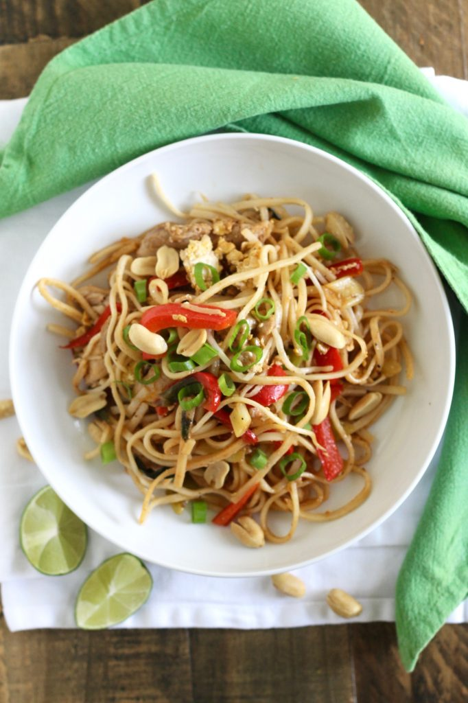 Healthy Pad Thai with Chicken ll Can easily be made vegetarian by substituting tofu! ll www.littlechefbigappetite.com