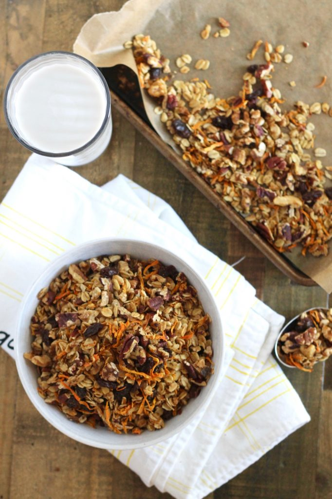 If you love carrot cake, then you're going to love this healthy Carrot Cake Granola! It's gluten-free, vegan, and packed with delicious carrot cake flavor. Eat it with yogurt, milk, or just on its own! ll www.littlechefbigappetite.com