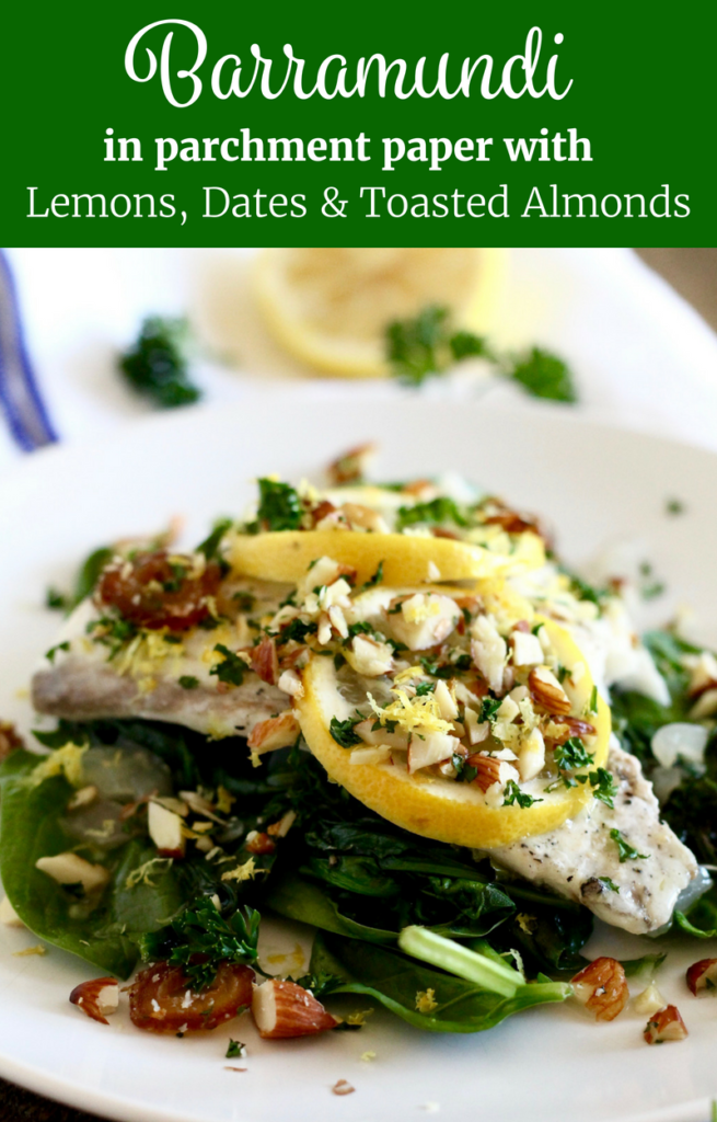 Barramundi in Parchment with Lemons, Dates and Toasted Almonds | www.littlechefbigappetite.com