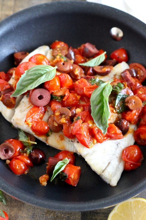 Barramundi with Tomato, Olive, and White Wine Sauce