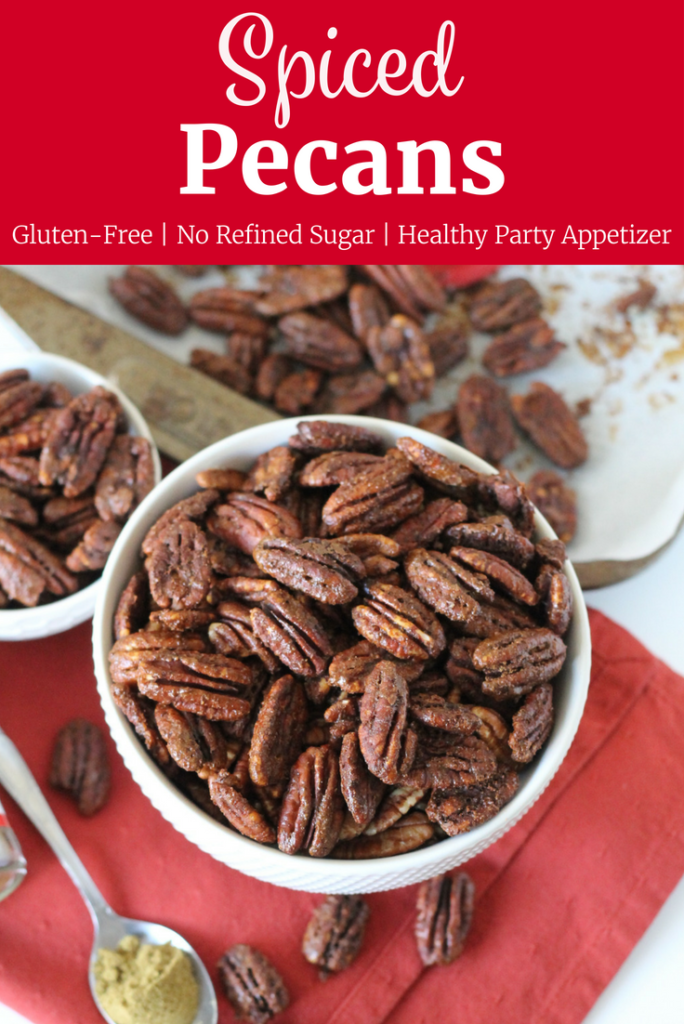 Holiday Spiced Pecans in a white bowl with text overlay for Pinterest | www.littlechefbigappetite.com