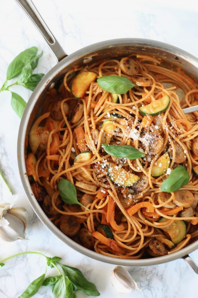 Roasted Red Pepper Pasta with Chicken Sausage and Vegetables // www.littlechefbigappetite.com 1