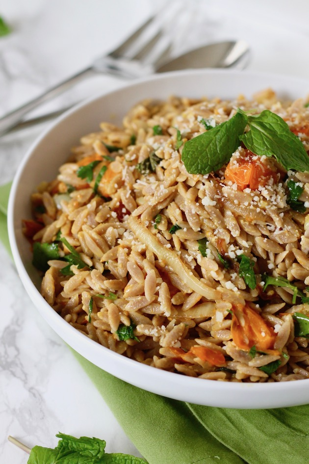 Whole Wheat Orzo with Blistered Tomatoes and Mint Recipe ll www.littlechefbigappetite.com