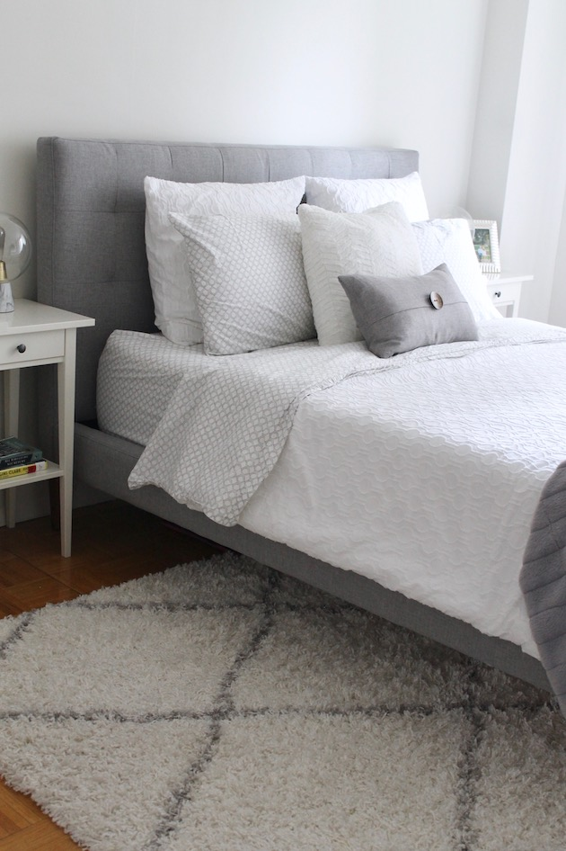 Creating an Ultra-Cozy Bedroom: White and Gray West Elm Bedding ll www.littlechefbigappetite.com