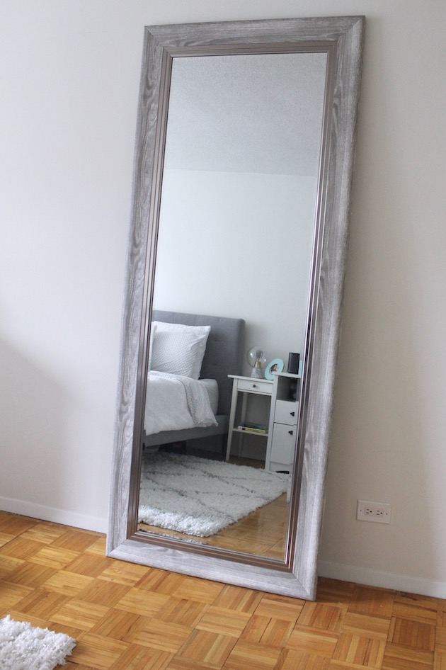 Creating an Ultra-Cozy Bedroom: Gray Leaning Floor Mirror ll www.littlechefbigappetite.com