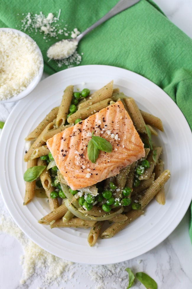 Pesto Salmon Pasta with Peas
