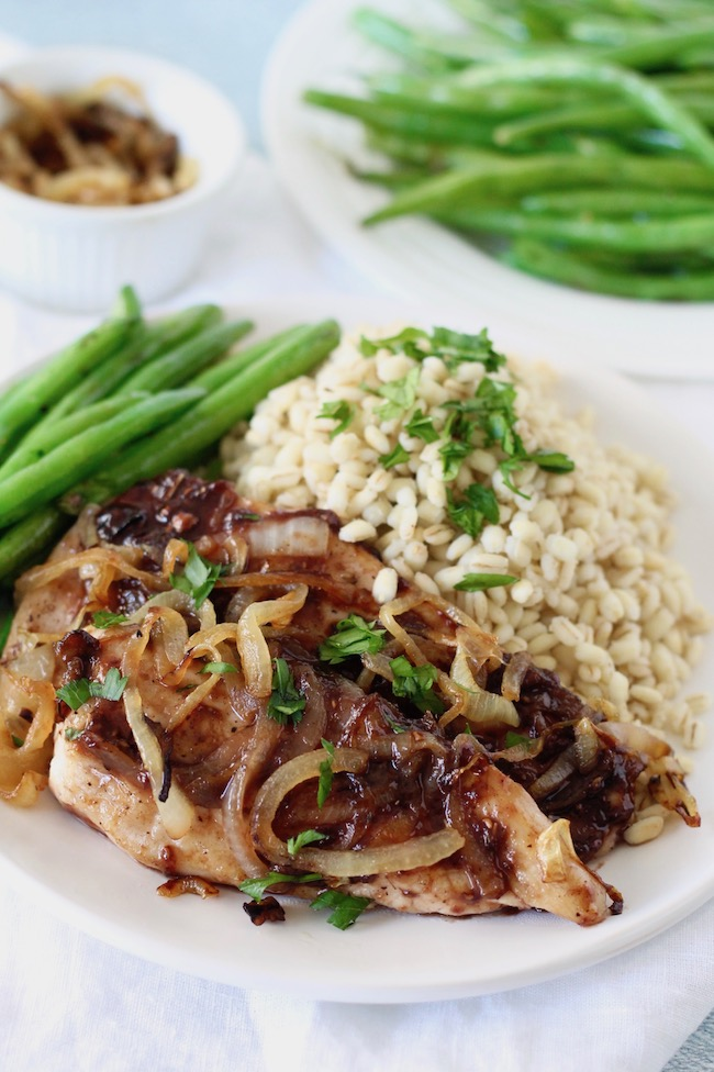 Caramelized Onion Chicken with Raspberry Pan Sauce Recipe | www.littlechefbigappetite.com