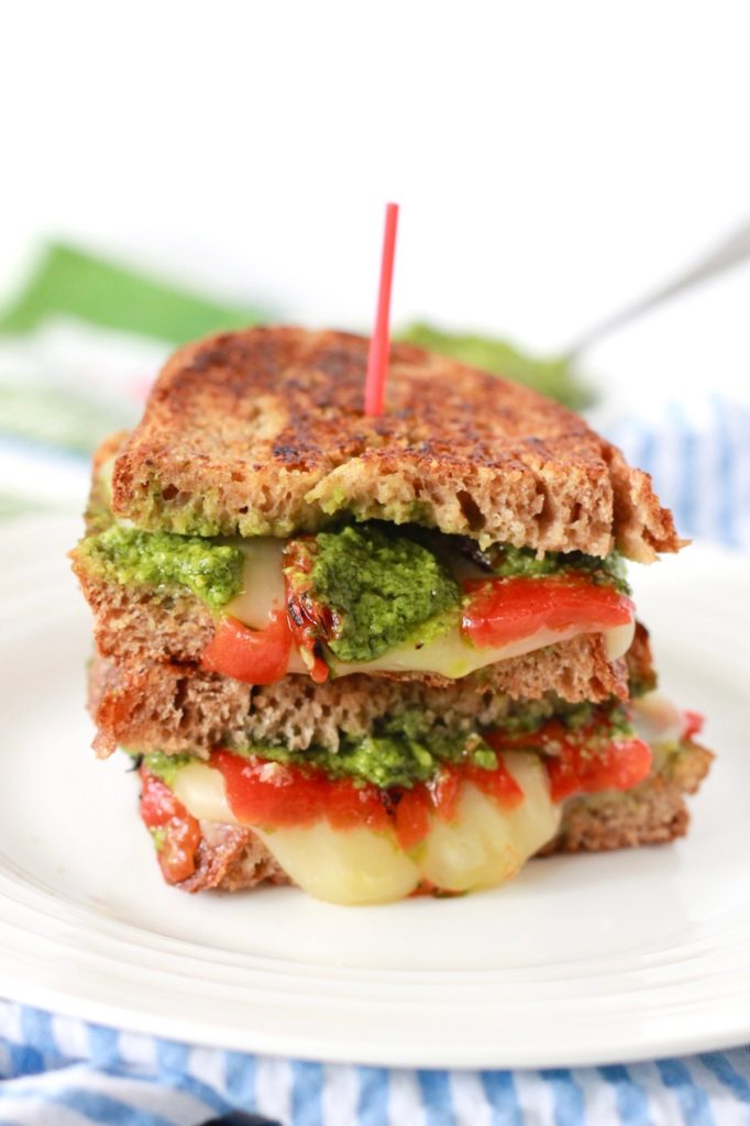 Healthy Grilled Cheese with Pesto and Roasted Red Peppers | www.littlechefbigappetite.com 1