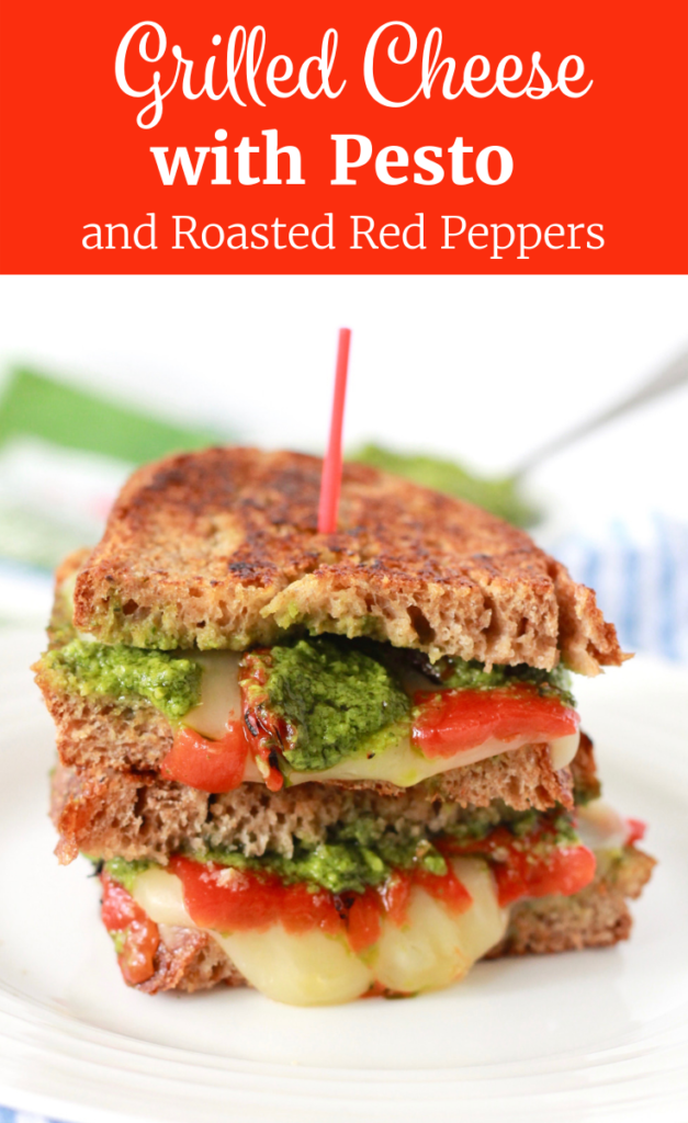 Healthy Grilled Cheese with Pesto and Roasted Red Peppers | www.littlechefbigappetite.com Pinterest