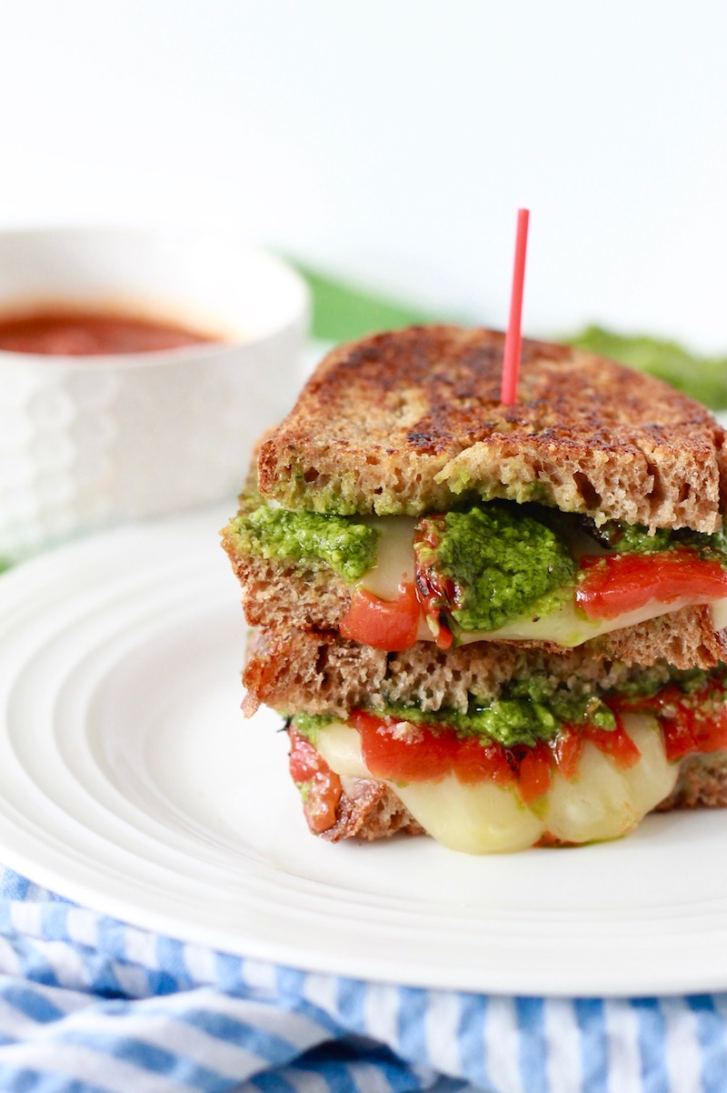 Healthy Grilled Cheese with Pesto and Roasted Red Peppers   www.littlechefbigappetite.com 2