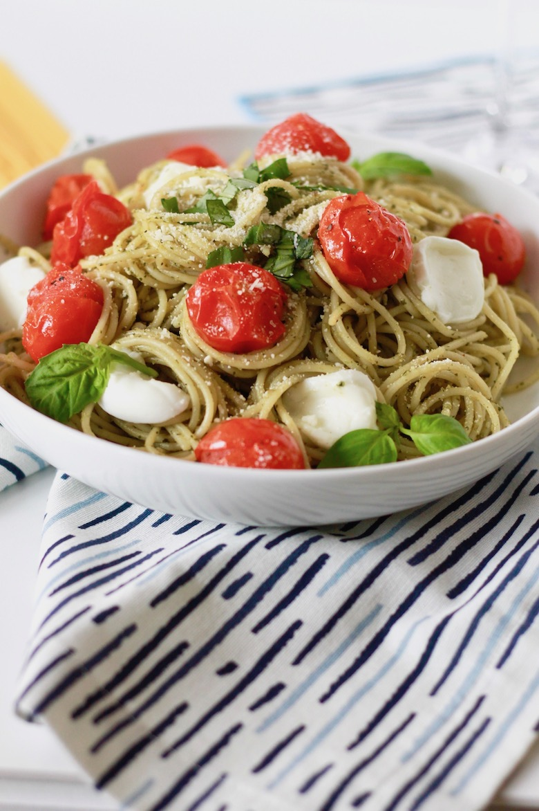 Pesto Spaghetti with Blistered Tomatoes and Roasted Garlic | littlechefbigappetite.com 6
