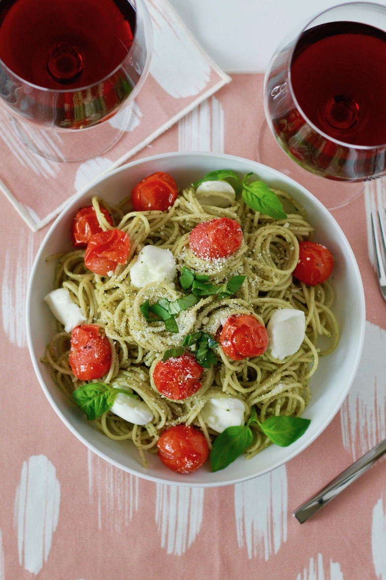 Pesto Spaghetti with Blistered Tomatoes and Roasted Garlic | littlechefbigappetite.com 1