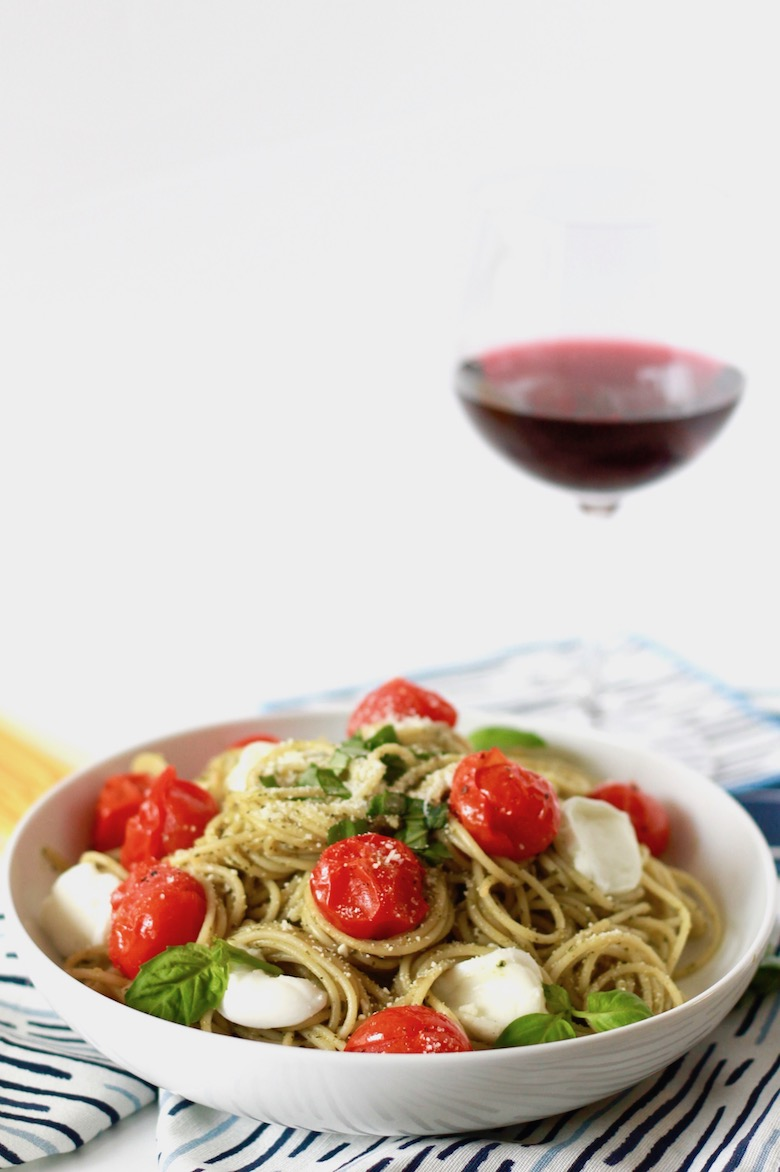 Pesto Spaghetti with Blistered Tomatoes and Roasted Garlic | littlechefbigappetite.com 7